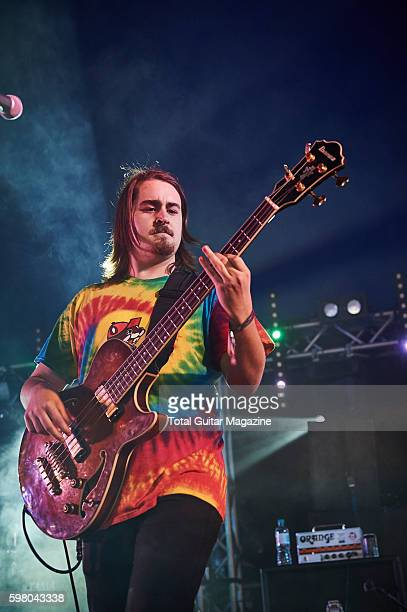 Bassist Drew Pelisek of American progressive rock group Chon performing live on stage at ArcTanGent Festival in Somerset on August 21 2015