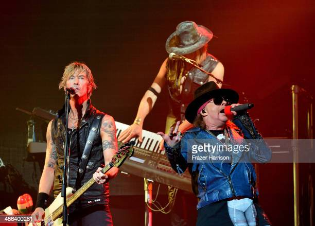 Bassist Duff McKagan and singer Axl Rose of Guns N 'Roses perform onstage at the 6th Annual Revolver Golden Gods Award Show at Club Nokia on April 23...