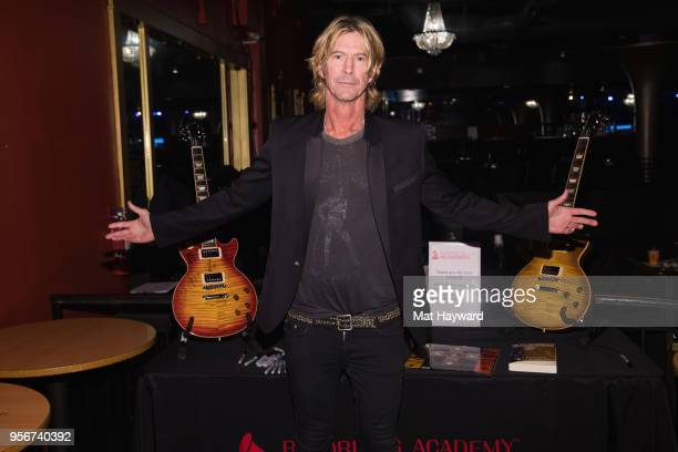 Bassist Duff McKagan of Guns and Roses poses for a photo after rehearsal for the Musicares Concert for Recovery at the Showbox on May 9, 2018 in...