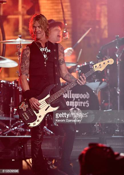 Bassist Duff McKagan of Hollywood Vampires performs onstage during The 58th GRAMMY Awards at Staples Center on February 15 2016 in Los Angeles...