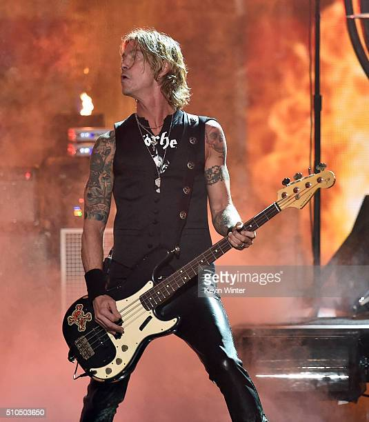 Bassist Duff McKagan of music group The Hollywood Vampires performs onstage during The 58th GRAMMY Awards at Staples Center on February 15 2016 in...