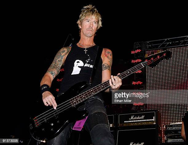 Bassist Duff McKagan performs during a concert at the Bare Pool Lounge at The Mirage Hotel Casino to celebrate the resort's 20th anniversary early on...