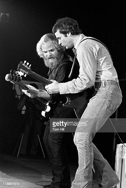 Dusty Hill and Billy Gibbons of ZZ Top during ZZ Top Plays Georgia Southern College October 10 1973 at Georgia Southern College Coliseum in...