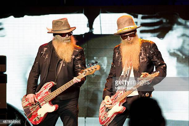 Bassist Dusty Hill and guitarist Billy Gibbons of ZZ Top perform at The Mountain Winery on September 11 2015 in Saratoga California