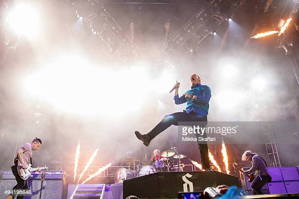 Bassist Eric Bass vocalist Brent Smith and guitarist Zach Myers of Shinedown perform at 2015 Monster Energy Aftershock Festival at Gibson Ranch...