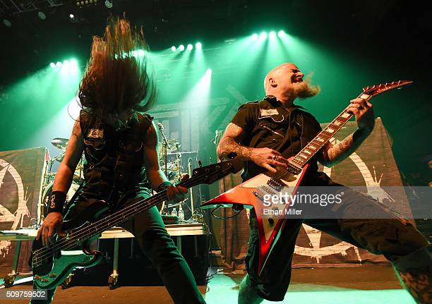 Bassist Frank Bello and guitarist Scott Ian of Anthrax perform at Brooklyn Bowl Las Vegas at The LINQ Promenade on February 11 2016 in Las Vegas...