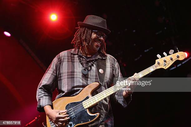 Bassist Fred Cash performs at Celebrate Brooklyn at the Prospect Park Bandshell on June 25 2015 in the Brooklyn borough of New York City
