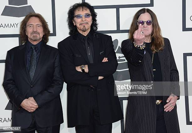 Bassist Geezer Butler guitarist Tony Iommi and singer Ozzy Osbourne attend the 56th GRAMMY Awards at Staples Center on January 26 2014 in Los Angeles...