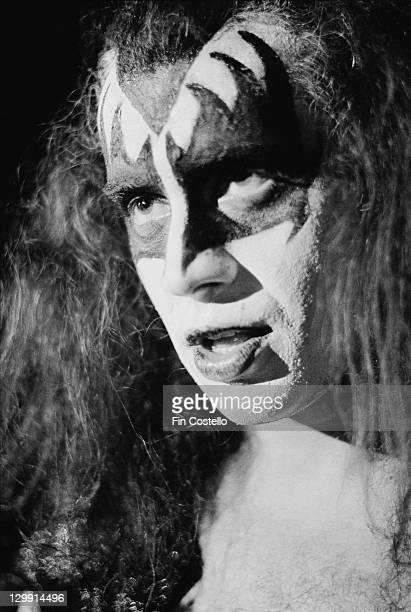 Bassist Gene Simmons of American heavy metal group Kiss, Cobo Hall, Detroit, Michigan, May 1975.