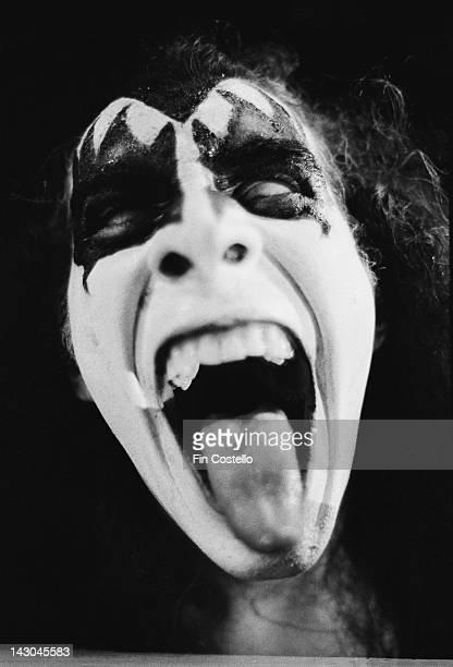 Bassist Gene Simmons of American rock group Kiss in Detroit Michigan May 1975