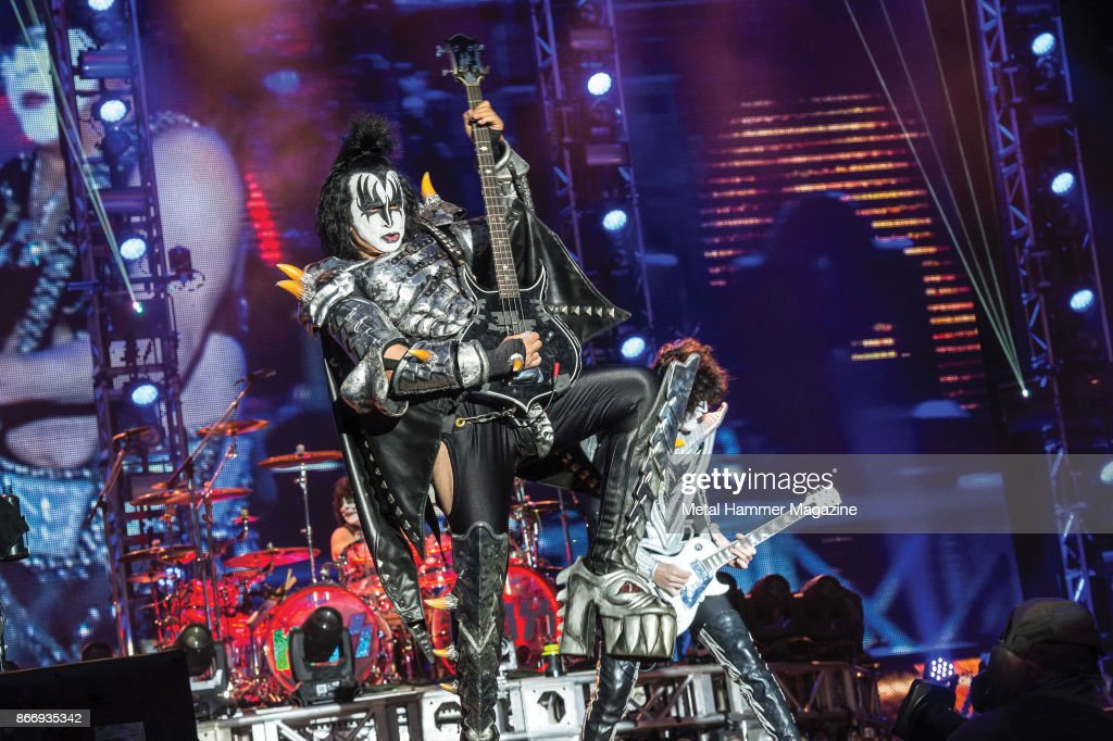 Bassist Gene Simmons of American rock group Kiss performing live on the Main Stage at Download Festival on June 14, 2015.