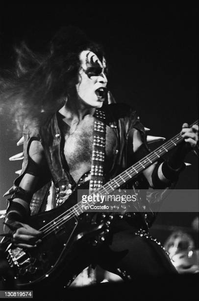 Bassist Gene Simmons performing with American rock group Kiss at the Calderone Theater New York 23rd August 1975