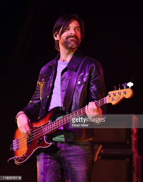 Bassist Geoff Sprung of Old Dominion performs during a stop of the band's Make It Sweet Tour at The Joint inside the Hard Rock Hotel Casino on...
