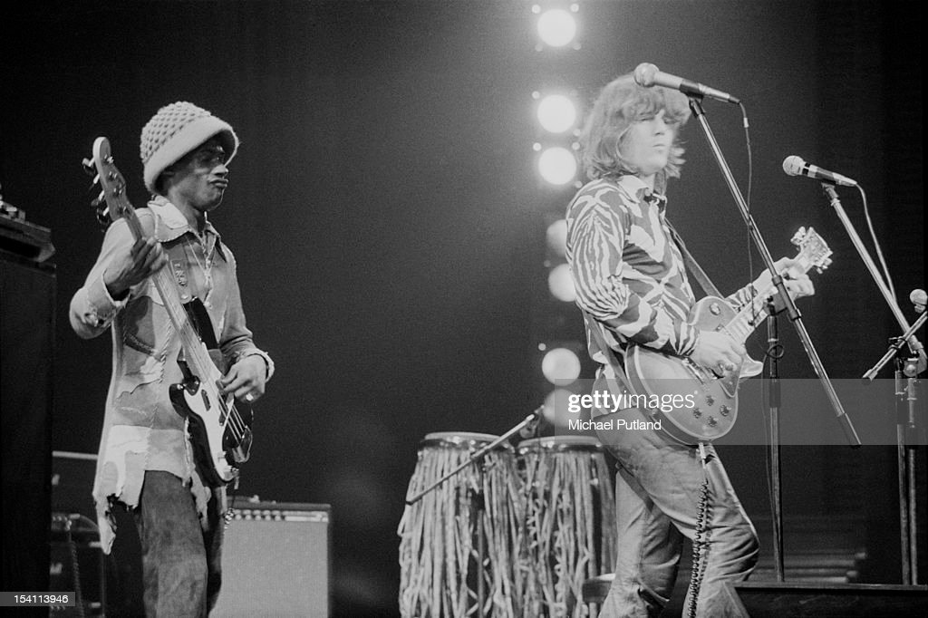 Bassist Gerald Johnson (left) and American guitarist and singer-songwriter Steve Miller performing with the Steve Miller Band at the Rainbow Theatre, London, 26th February 1972.