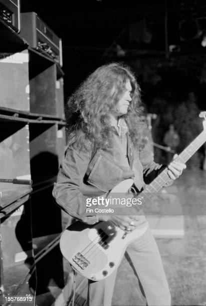 Bassist Glenn Hughes on stage at the Ontario Motor Speedway, Ontario, California, where he performed with English rock group Deep Purple at the...