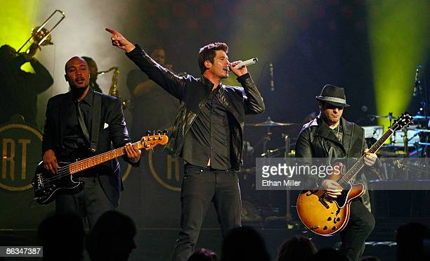 Bassist Greg Malone singer Robin Thicke and guitarist Andrew McKay perform at The Pearl concert theater at the Palms Casino Resort May 1 2009 in Las...