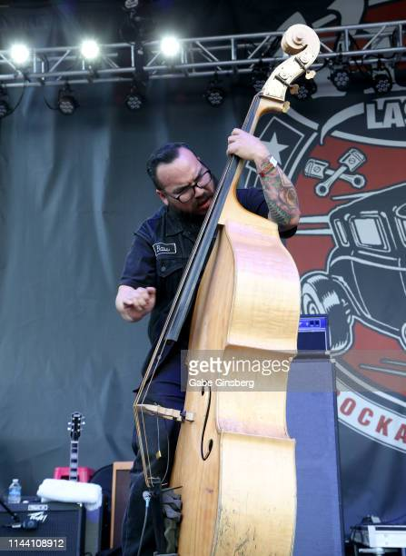 Bassist Gregorio Garcia of The Delta Bombers performs during the Viva Las Vegas Rockabilly Weekend's car show at the Orleans Arena on April 20 2019...
