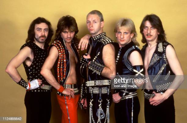 Bassist Ian Hill, guitarist Glenn Tipton, lead singer Rob Halford, guitarist K.K. Downing and drummer Dave Holland of the English heavy metal band...
