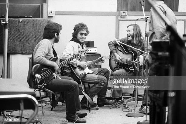 Bassist Jack Barber singer songwriter Bob Dylan and Texas musician Doug Sahm recording Doug Sahm's 1973 album 'Doug Sahm and Band' in the studios of...
