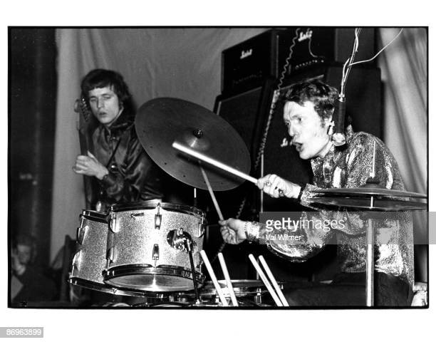 Bassist Jack Bruce and drummer Ginger Baker of British bluesrock band Cream in concert circa 1967