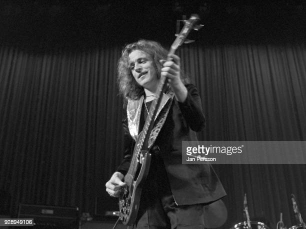 Bassist Jack Bruce of blues rock group West Bruce and Laing performing in Copenhagen Denmark March 1973 He is playing a Gibson EB0 bass guitar