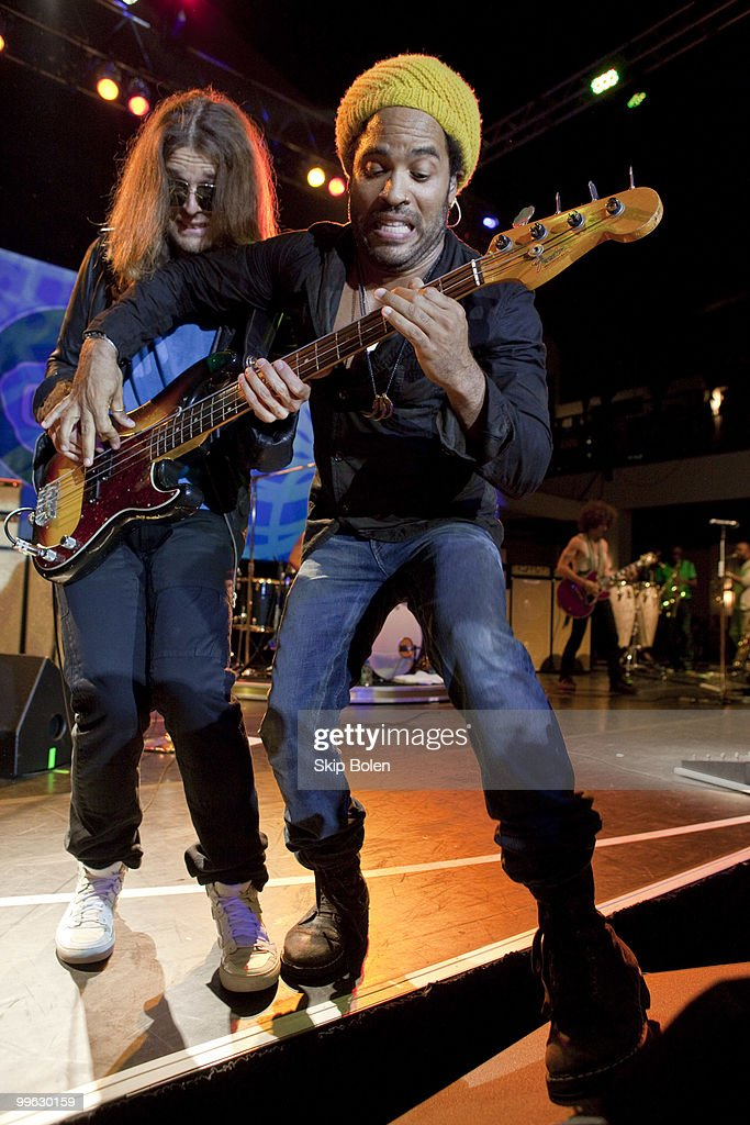 Bassist Jack Daley and musician Lenny Kravitz perform at the GULF AID benefit concert at Mardi Gras World River City on May 16, 2010 in New Orleans, Louisiana.