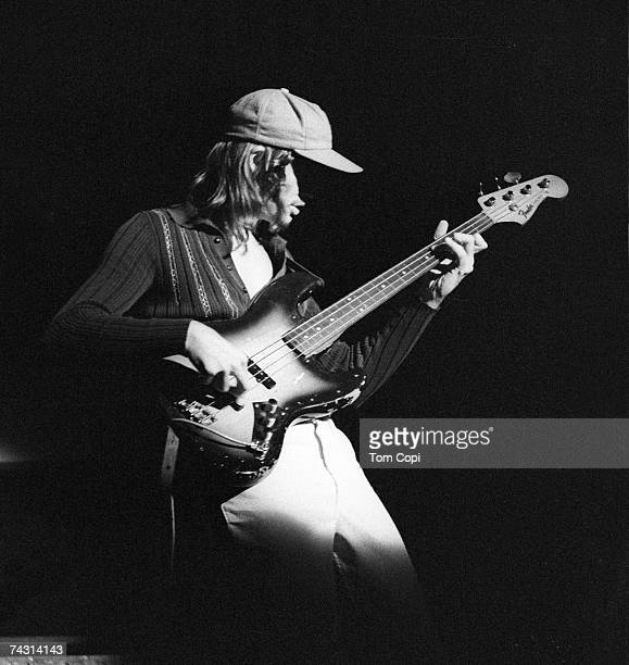Bassist Jaco Pastorius of the jazz group 'Weather Report' performs on stage at the Greek Theater in Berkeley California in 1976