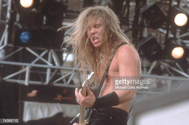 Bassist Jason Newsted of the heavy metal quartet Metallica performs onstage at the Monsters of Rock festival in 1988