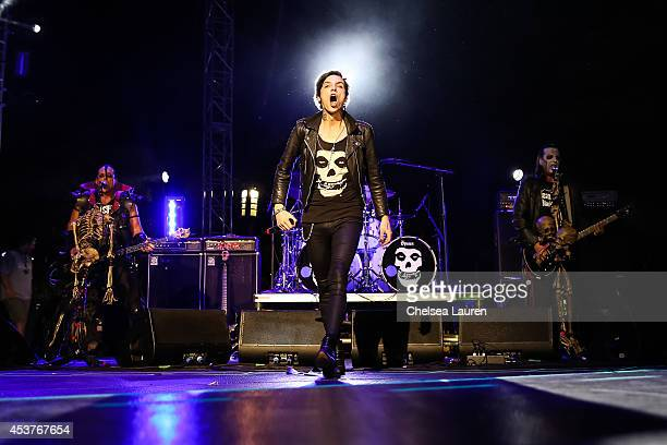 Bassist Jerry Only vocalist Andy Biersack of Black Veil Brides and vocalist/guitarist Dez Cadena of The Misfits performs at the 2014 Gibson Brands AP...