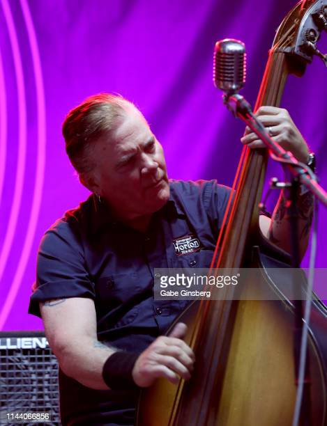Bassist Jimbo Wallace of The Reverend Horton Heat performs during the Viva Las Vegas Rockabilly Weekend's car show at the Orleans Arena on April 20...