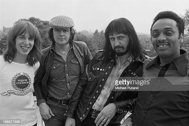 Bassist John Entwistle of the Who with the band from his third solo album 'Rigor Mortis Sets In' London 21st May 1973 Left to right drummer Graham...