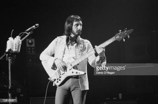 Bassist John Entwistle performing with English rock group The Who at Shepperton Studios Surrey 25th May 1978 The concert was performed for the...