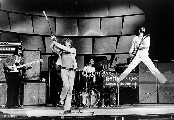 Bassist John Entwistle singer Roger Daltrey drummer Keith Moon and guitarist Pete Townshend of the rodk and roll band The Who perform onstage in...
