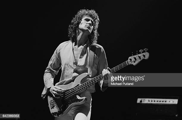 Bassist John Illsley performing with British rock group Dire Straits USA March 1979