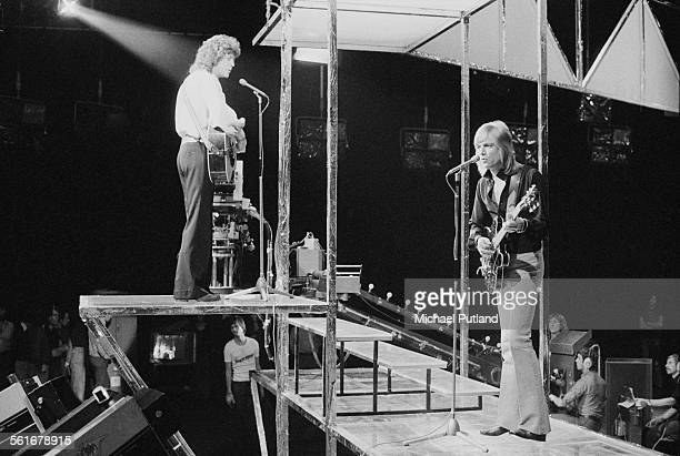 Bassist John Lodge and singersongwriter and guitarist Justin Hayward of English rock group The Moody Blues performing on London Weekend Television's...