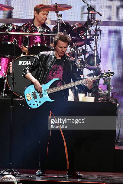 Bassist John Taylor and drummer Roger Taylor of Duran Duran perform onstage at the 2015 iHeartRadio Music Festival at MGM Grand Garden Arena on...