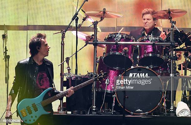 Bassist John Taylor and drummer Roger Taylor of Duran Duran perform at the 2015 iHeartRadio Music Festival at MGM Grand Garden Arena on September 18...