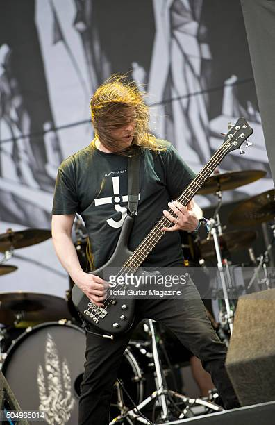 Bassist Jonas Bjorler of Swedish death metal group At The Gates performing live on the Main Stage at Download Festival on June 12 2015