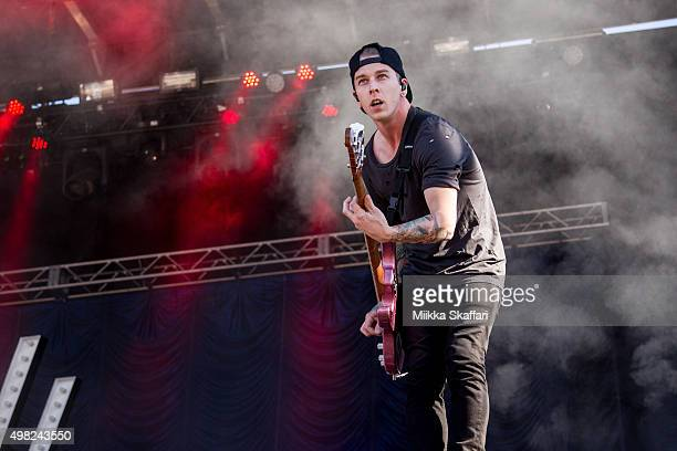 Bassist Justin Hills of Sleeping With Sirens performs at 2015 Monster Energy Aftershock Festival at Gibson Ranch County Park on October 25 2015 in...