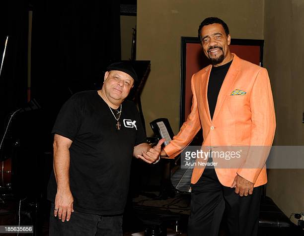 Bassist Kevin Brandon and Bobby Lyle attend the Kaylene Peoples My Man CD recording session featuring pianist Bobby Lyle on October 22 2013 at the...
