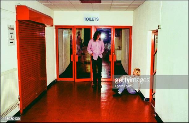 Bassist Krist Novoselic and singerguitarist Kurt Cobain of American rock group Nirvana backstage Belfast 1992