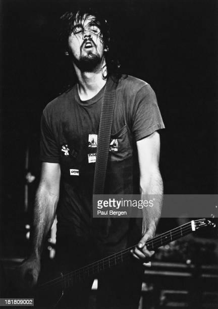 Bassist Krist Novoselic performing with American rock group Nirvana, Frankfurt, Germany, 12th November 1991.
