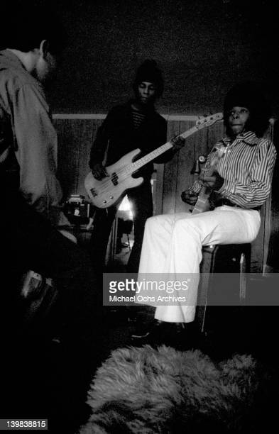 Bassist Larry Graham and siinger Sly Stone of the psychedelic soul group 'Sly And The Family Stone' plays a Fender Telecaster electric guitar on...