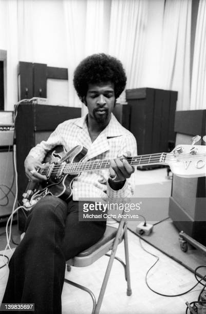 Bassist Larry Graham of the psychedelic soul group 'Sly And The Family Stone' plays a Vox electric bass as he works on an album for the 'Spaulding...