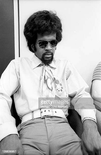 Bassist Larry Graham of the psychedelic soul group 'Sly And The Family Stone' poses for a portrait session at CBS Studios on August 1 1968 in New...