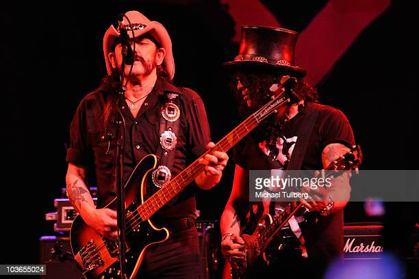 Bassist Lemmy Kilmister and guitarist Slash perform with the rockabilly group The Head Cat at the 3rd Annual Sunset Strip Music Festival's tribute to...