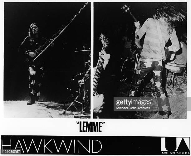 Bassist Lemmy Kilmister of the space rock band Hawkwind performs onstage in this diptych in circa 1973