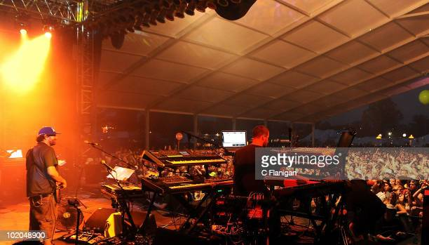 Bassist Marc Brownstein and Keyboardist Aron Magner of The Disco Biscuits perform during day 3 of the Bonnaroo Music and Arts Festival at the...