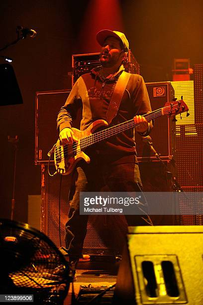 Bassist Marc Brownstein of Disco Biscuits performs at the IDentity Electronic Music Festival at the Hollywood Palladium on September 4 2011 in Los...