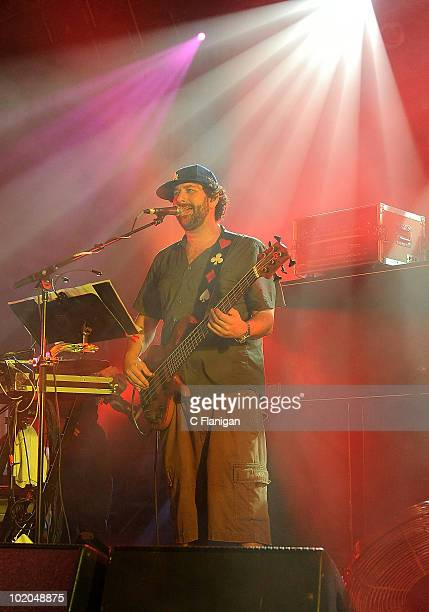 Bassist Marc Brownstein of The Disco Biscuits performs during day 3 of the Bonnaroo Music and Arts Festival at the Bonnaroo Festival Grounds on June...